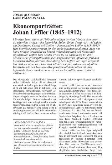 Ekonomporträttet: Johan Leffler - Nationalekonomiska institutionen
