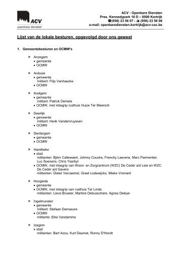 Lijst van de lokale besturen, opgevolgd door ons gewest