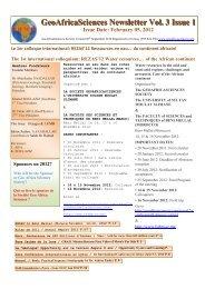 GeoAfricaSciences Newsletter Vol. 3 Issue 1