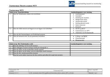 Toetstermen Theorie-examen MTV Toetstermen MTV - ExTH