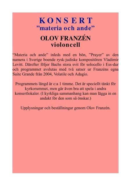 Hemsidan, Aktuella soloprogram.odt - Olov Franzén