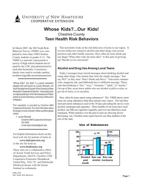 Khs Unh Cooperative Extension Nh Yrbs Factsheet Monadnock