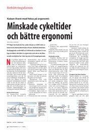 Minskade cykeltider och bättre ergonomi - FörbättringsForum