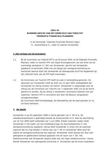 2001-01 BINDEND ADVIES VAN DE COMMISSIE VAN ... - Ffp