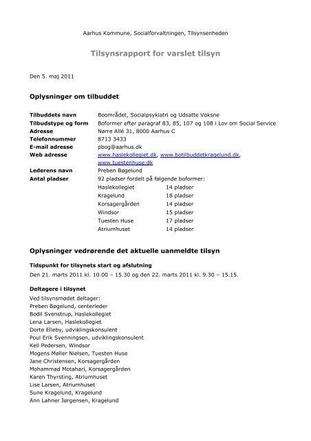 Tilsynsrapport for varslet tilsyn - Aarhus.dk