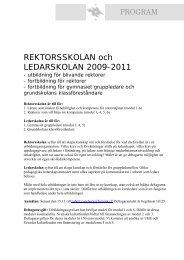 REKTORSSKOLAN och LEDARSKOLAN 2009-2011