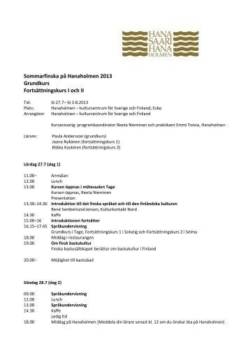 Sommarfinska på Hanaholmen 2013 Grundkurs Fortsättningskurs I ...