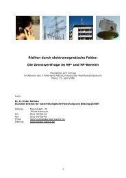 Risiken durch elektromagnetische Felder: Die ... - verminder straling