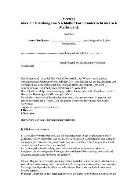 Vertrag über Die Erteilung Von Nachhilfe Förderunterricht Im Fach