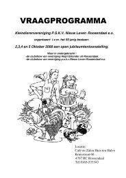 Vraagprogramma Open Tentoonstelling op 2,3,4 en 5 Oktober 2008