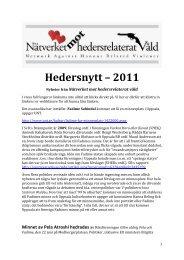 Hedersnytt 2011.pdf - Nätverket mot hedersrelaterat våld