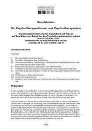Berufskodex für Psychotherapeutinnen und Psychotherapeuten - KLP