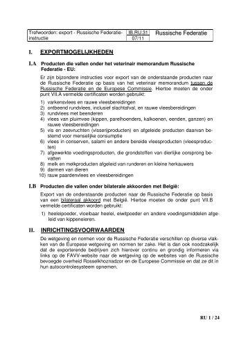 IB.RU.31 Russische Federatie I. EXPORTMOGELIJKHEDEN ... - Favv