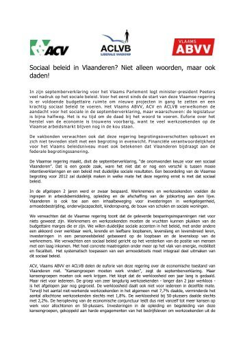 Sociaal beleid in Vlaanderen? Niet alleen woorden, maar ook daden!