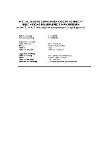 Van Loon's Benzinestation B.V., Goudse Poort 2 (oost) besluit