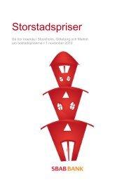 Storstadspriser 1 november 2012 - SBAB