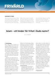 Islam – ett hinder för frihet i Guds namn? - Frivärld