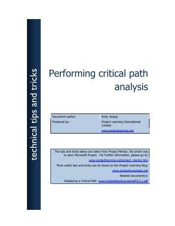 Performing critical path analysis technical tips and ... - Project Learning