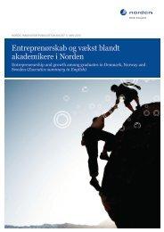 Entreprenørskab og vækst blandt akademikere i Norden (2012)