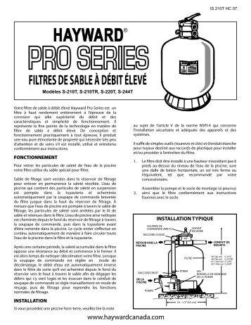 Hayward Pro Series Filtres de Sable à Débit Élevé - S210T, S210TR ...
