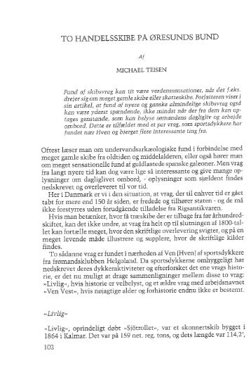 Michael Teisen: To handelsskibe på Øresunds bund, s. 102-114