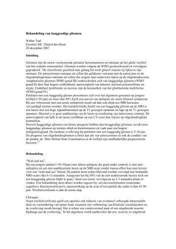 Laaggr gliomen-wtaal20122007 - Neuro-Oncologie