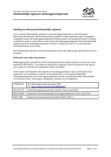 Huishoudelijk reglement medezeggenschapsraad - Het Mozaïek