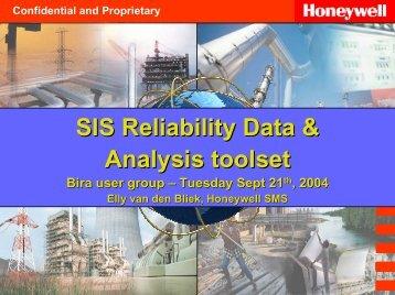 SIS Reliability Data & Analysis toolset Bira user group – Tuesday ...