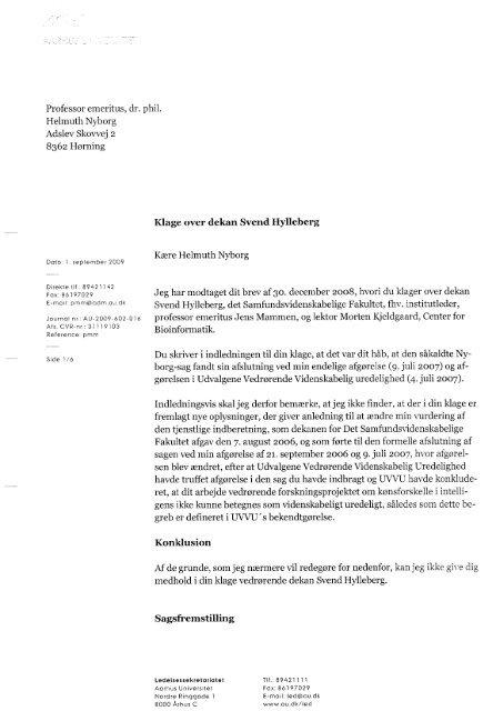Rektors svar på klagen - Professor Emeritus Dr. Phil. Helmuth ...