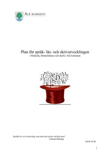 Plan för språk- läs- och skrivutvecklingen - Ale kommun