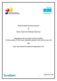 Appendix to the Sure Start code of practice - Czone - East Sussex ...