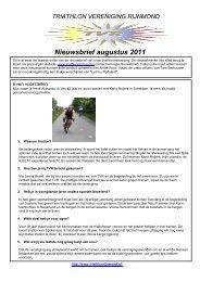 8e nieuwsbrief 31 augustus 2012 - Triathlon Vereniging Rijnmond
