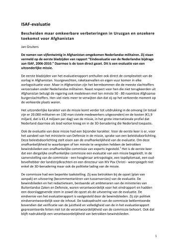 ISAF-evaluatie. Omkeerbare verbeteringen in Uruzgan en onzekere ...