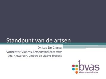 Standpunt van de voorschrijvende arts - Vlaams Artsensyndicaat