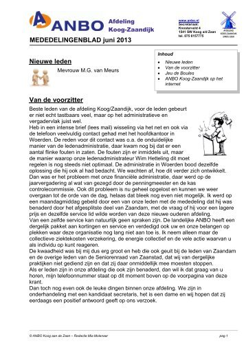 Nieuwe leden Van de voorzitter MEDEDELINGENBLAD juni ... - Anbo