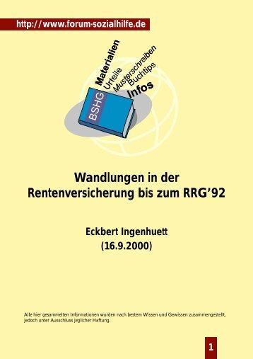 Wandlungen in der Rentenversicherung bis zum RRG'92 - Forum ...