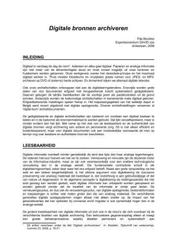 Digitale bronnen archiveren - eDAVID