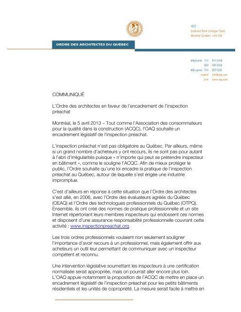 L'Ordre des architectes en faveur de l'encadrement de l'inspection ...