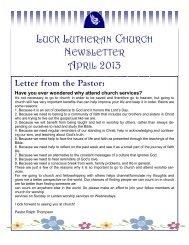 LUCK LUTHERAN CHURCH NEWSLETTER APRIL 2013