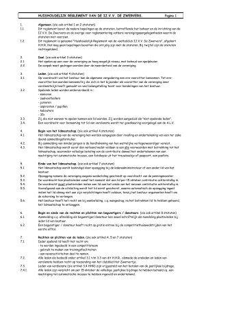 Huishoudelijke Reglement - IJ.VV De Zwervers