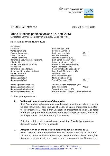 Referat af bestyrelsesmøde - Danmarks nationalparker
