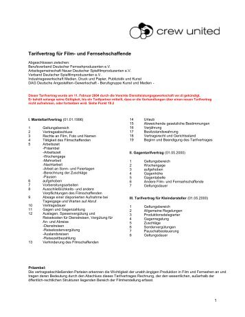 Tarifvertrag für Film- und Fernsehschaffende - Crew United