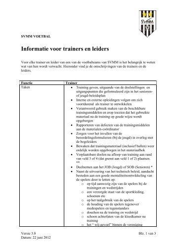 Taken trainers en leiders SVMM