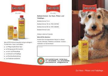 BALLISTOL Animal pflegt seit über 50 Jahren Waldi, Miezi und Co.