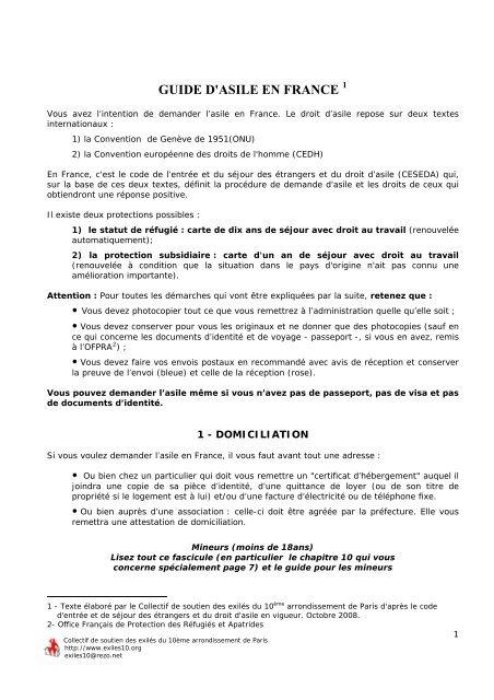 Vous Avez L Intention De Demander L Asile En France