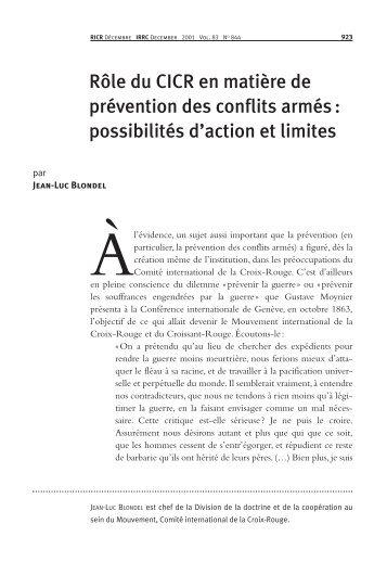 Rôle du CICR en matière de prévention des conflits armés ...