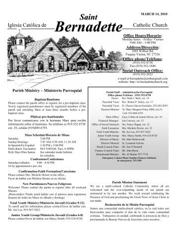 March 14 - St. Bernadette Catholic Church