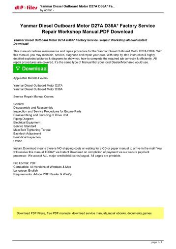 Yanmar Diesel Outboard Motor D27A D36A Factory Service  Repair Workshop Manual Instant Download!.pdf