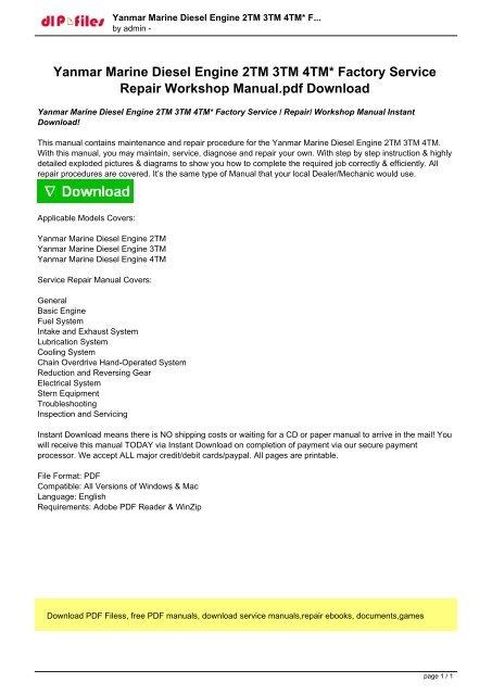 Yanmar Marine Diesel Engine 2TM 3TM 4TM Factory Service Repair