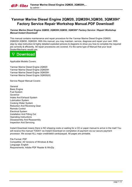 Yanmar Marine Diesel Engine 2qm20 2qm20h 3qm30 3qm30h Factory Service Repair Workshop Manual Instant Download Pdf